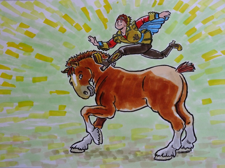 """Able to leap over a Clydesdale in a single bound!"" by Dennis Martin"